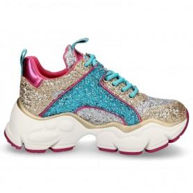 Scarpe uomo Harris sneaker pelle trapuntata ocra/ stampa pitone bianco/ shade blu U17HA105
