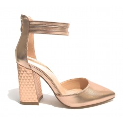 Scarpa donna Gold&gold tacco largo ecopelle colore champagne sottopiede in pelle DS20GG28