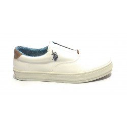 SNEAKER US POLO SLIP-ON UOMO MOD. FLAG TESSUTO CANVAS COLORE BIANCO US19UP17