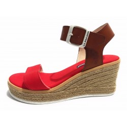 SCARPE DONNA US POLO ZEPPA NIVA SUEDE CANVAS  RED BROWN TC 70 PL 20 DS17UP07