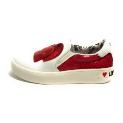 SCARPA DONNA LOVE MOSCHINO SLIP ON IN PELLE BIANCO/ ROSSO  DS19MO05