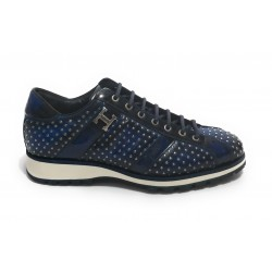 Scarpe uomo Harris sneakers in pelle yes shade blu con microborchie U17HA153