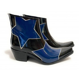 Scarpe donna L.A. Water stivaletto texano in gomma nero Blue star D21LA04