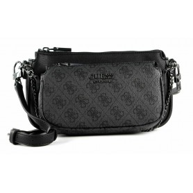 Borsa tracolla Guess Mika double pouch crossbody coal BS21GU19 SM796770