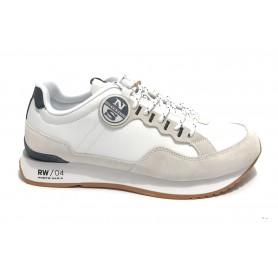 Scarpe North Sails sneaker running RW/04 First in suede/ tessuto bianco US21NS02