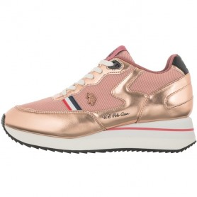 Scarpe donna US Polo sneaker running Livy in ecopelle/ mesh nude DS21UP01