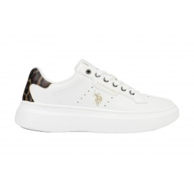 Scarpe donna US Polo sneaker Jewel 029 in ecopelle white/ animalier DS21UP04