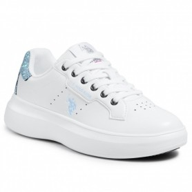 Scarpe donna US Polo sneaker Jewel 029 in ecopelle white/ glitter DS21UP05