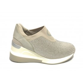 Scarpe donna Gold&gold slip on fondo running zeppa con strass grigio DS21GG45