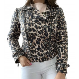 Giacca donna Guess iconic leopard bei E22GU02 W1YL0NWE0L0